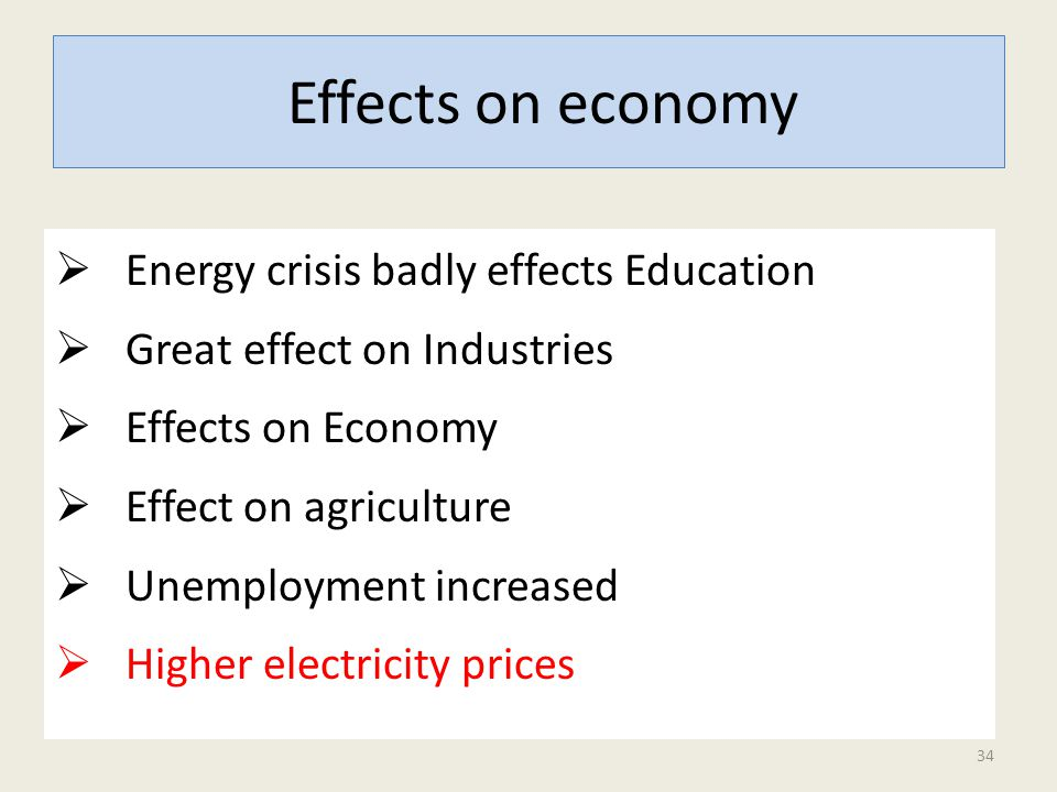  Energy crisis badly effects Education  Great effect on Industries  Effects on Economy  Effect on agriculture  Unemployment increased  Higher electricity prices Effects on economy 34