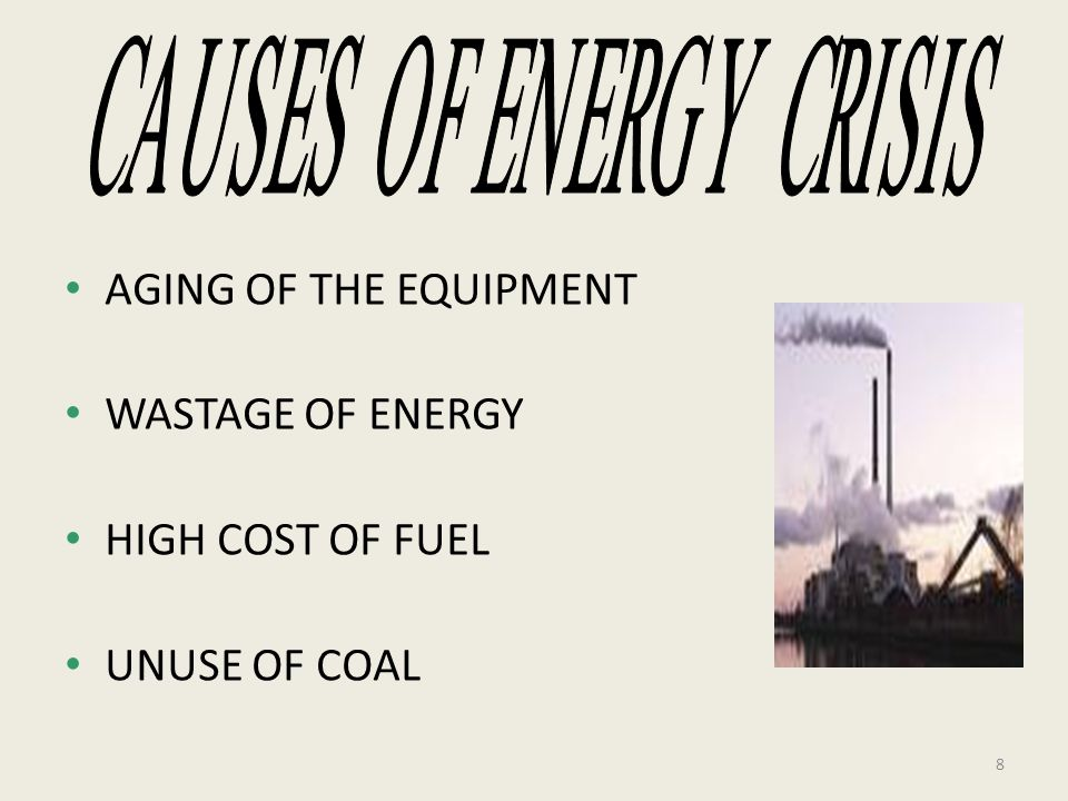 AGING OF THE EQUIPMENT WASTAGE OF ENERGY HIGH COST OF FUEL UNUSE OF COAL 8