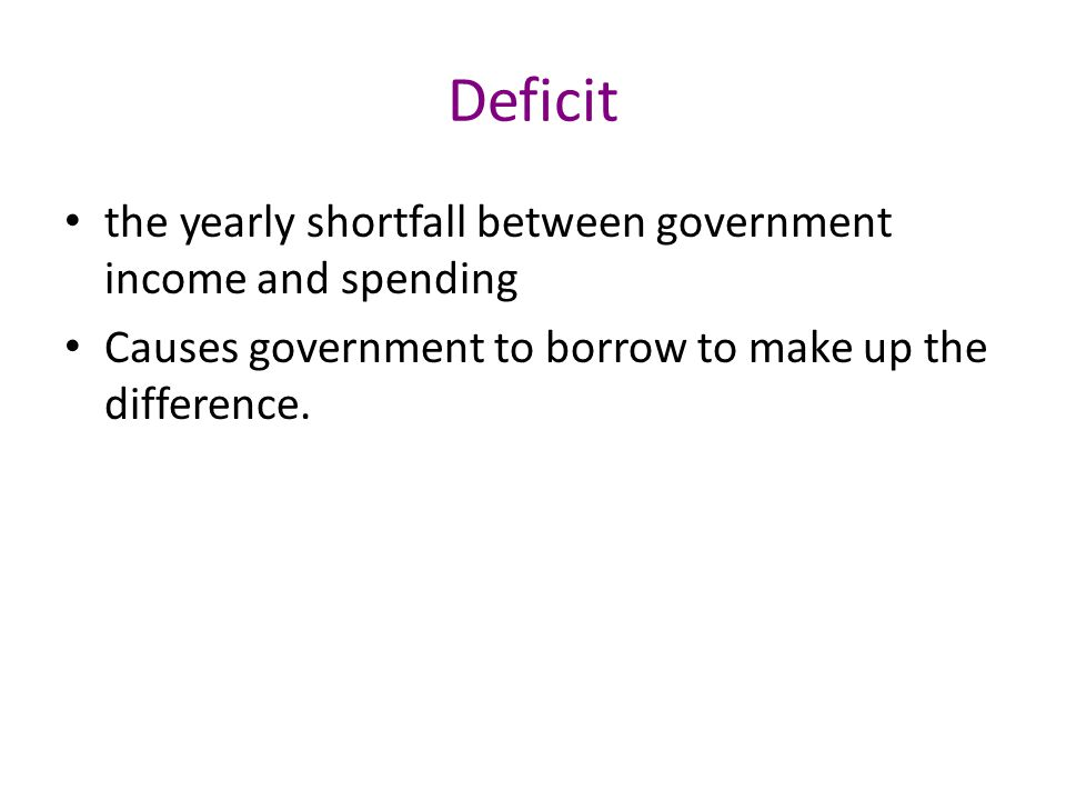 Deficit the yearly shortfall between government income and spending Causes government to borrow to make up the difference.