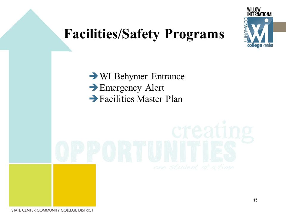 Facilities/Safety Programs  WI Behymer Entrance  Emergency Alert  Facilities Master Plan 15