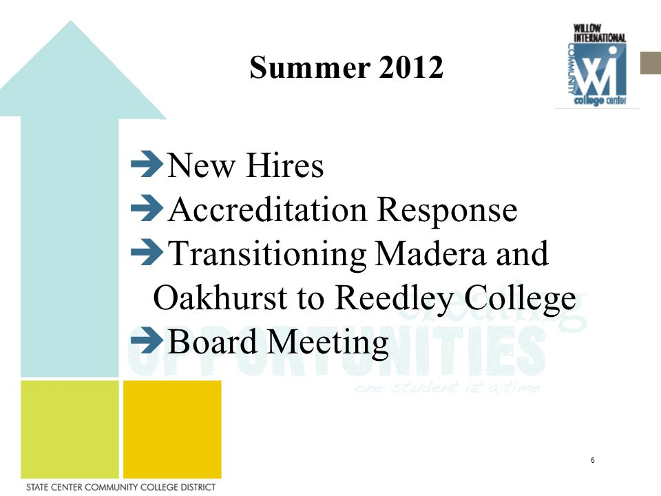 Summer 2012  New Hires  Accreditation Response  Transitioning Madera and Oakhurst to Reedley College  Board Meeting 6