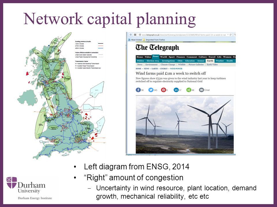 ∂ Network capital planning Left diagram from ENSG, 2014 Right amount of congestion ‒ Uncertainty in wind resource, plant location, demand growth, mechanical reliability, etc etc