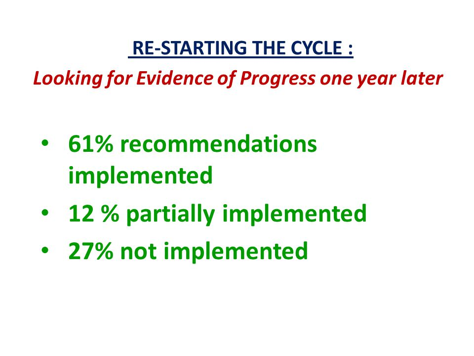 RE-STARTING THE CYCLE : Looking for Evidence of Progress one year later 61% recommendations implemented 12 % partially implemented 27% not implemented