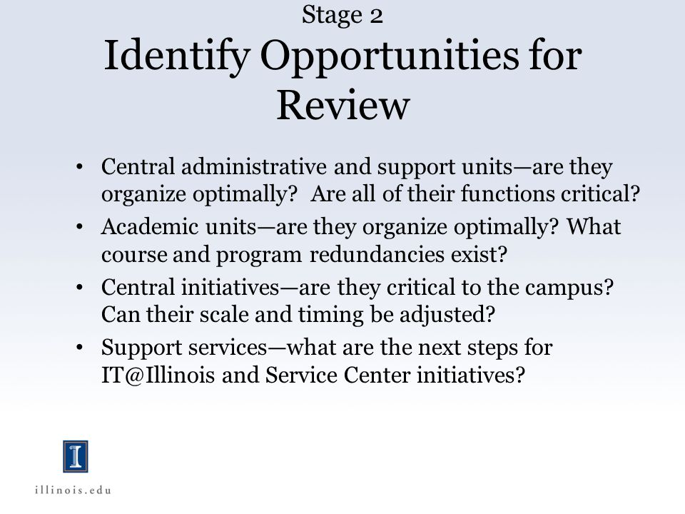 Stage 2 Identify Opportunities for Review Central administrative and support units—are they organize optimally.