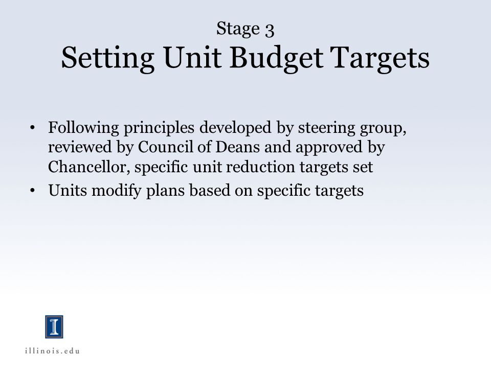 Stage 3 Setting Unit Budget Targets Following principles developed by steering group, reviewed by Council of Deans and approved by Chancellor, specific unit reduction targets set Units modify plans based on specific targets