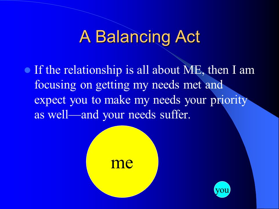 A Balancing Act If the relationship is all about ME, then I am focusing on getting my needs met and expect you to make my needs your priority as well—and your needs suffer.