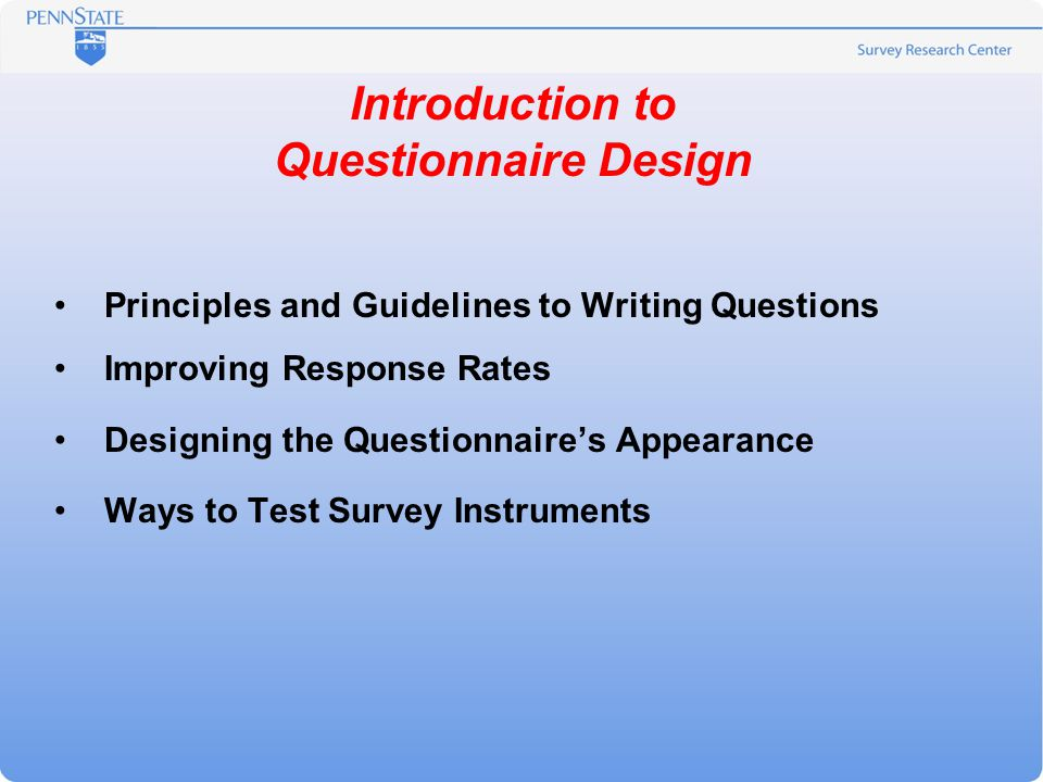 introduction to questionnaire design principles and guidelines to