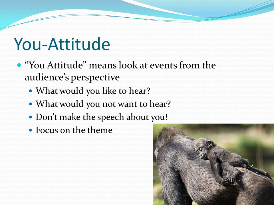 You-Attitude You Attitude means look at events from the audience's perspective What would you like to hear.