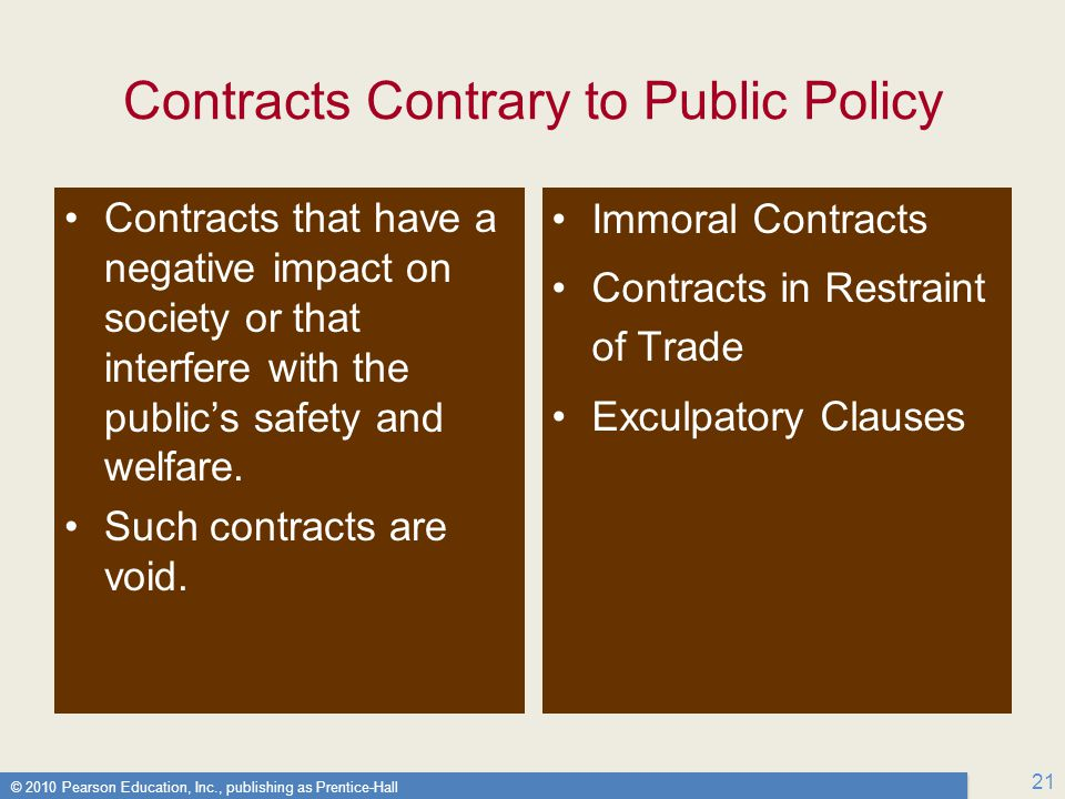 © 2010 Pearson Education, Inc., publishing as Prentice-Hall 21 Contracts Contrary to Public Policy Contracts that have a negative impact on society or that interfere with the public's safety and welfare.