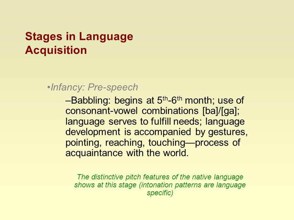 Stages in Language Acquisition Infancy: Pre-speech –Babbling: begins at 5 th -6 th month; use of consonant-vowel combinations [ba]/[ga]; language serves to fulfill needs; language development is accompanied by gestures, pointing, reaching, touching—process of acquaintance with the world.