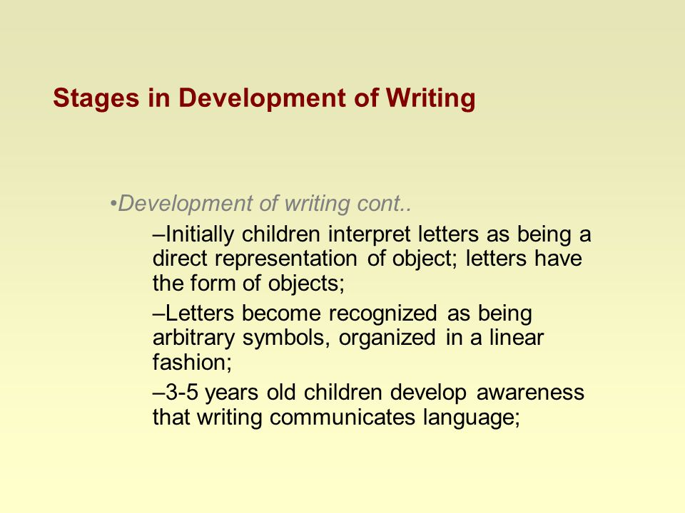 Stages in Development of Writing Development of writing cont..