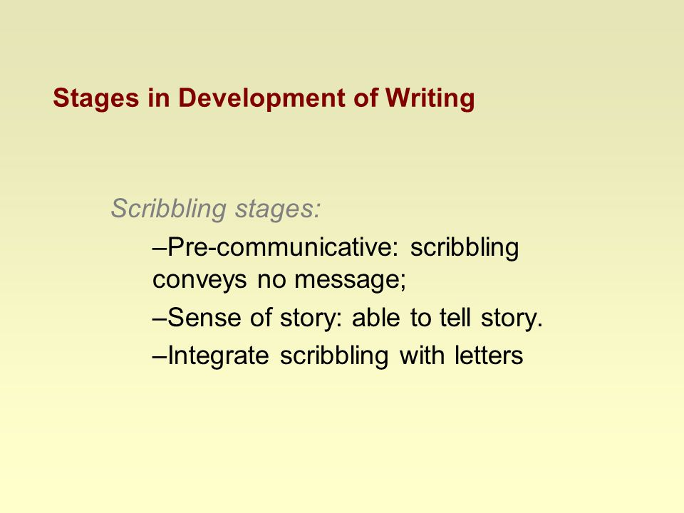 Stages in Development of Writing Scribbling stages: –Pre-communicative: scribbling conveys no message; –Sense of story: able to tell story.