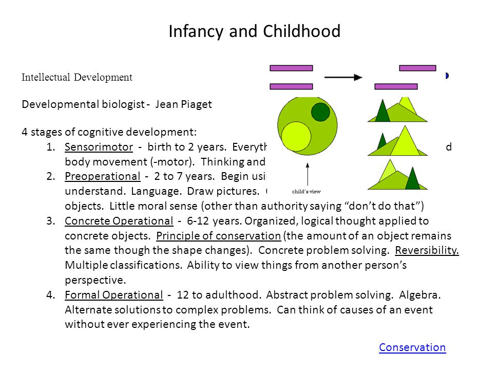 Infancy and Childhood Intellectual Development Developmental biologist - Jean Piaget 4 stages of cognitive development: 1.Sensorimotor - birth to 2 years.