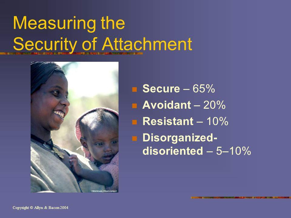 Copyright © Allyn & Bacon 2004 Measuring the Security of Attachment Secure – 65% Avoidant – 20% Resistant – 10% Disorganized- disoriented – 5–10%