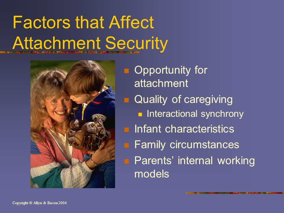 Copyright © Allyn & Bacon 2004 Factors that Affect Attachment Security Opportunity for attachment Quality of caregiving Interactional synchrony Infant characteristics Family circumstances Parents' internal working models