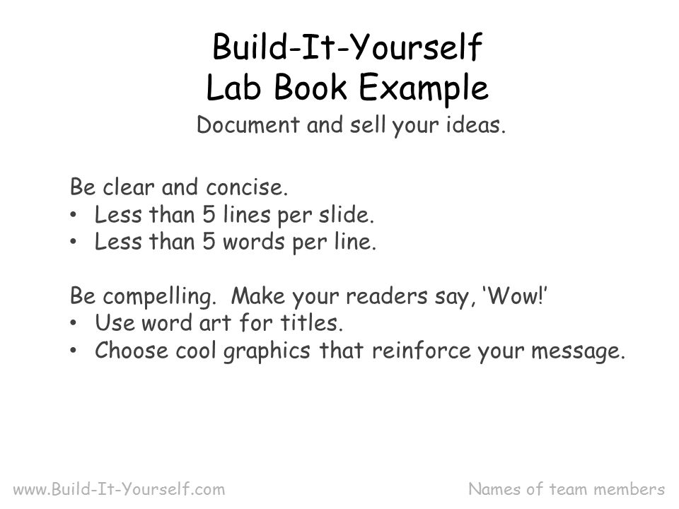 Names Of Team Members Build It Yourself Lab Book Example Be Clear