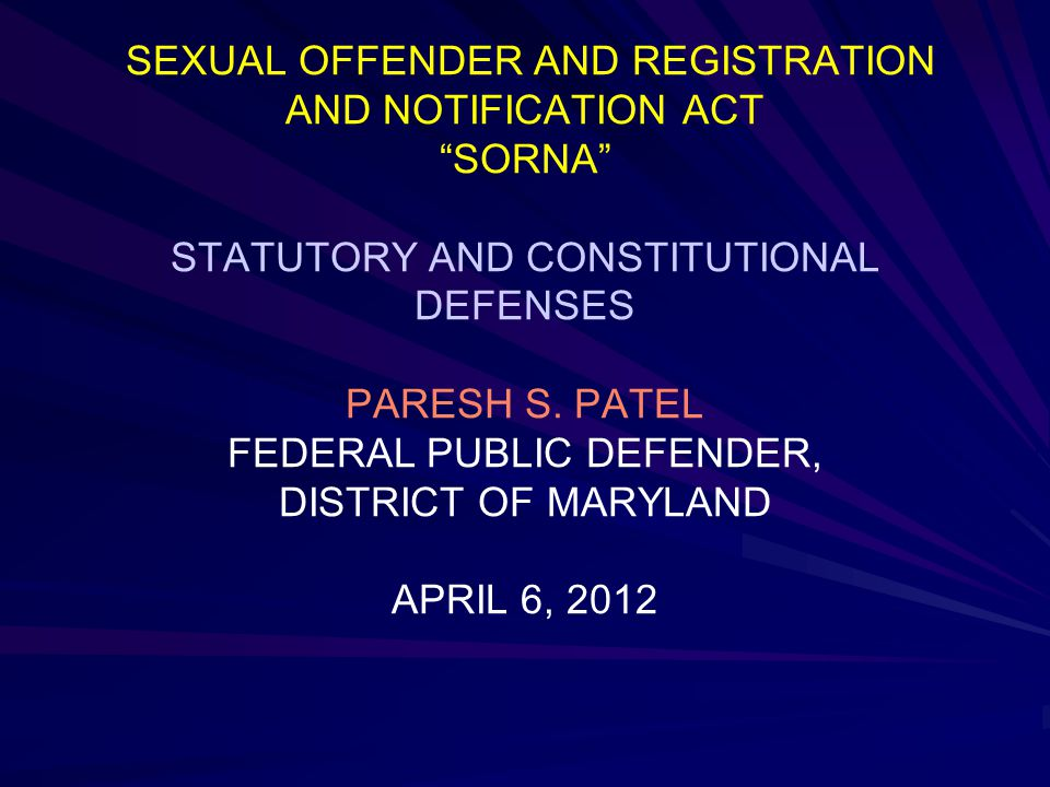 Federal sorna guidelines for sex offenders