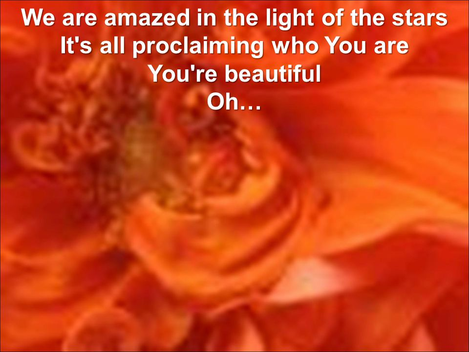 We are amazed in the light of the stars It s all proclaiming who You are You re beautiful Oh…