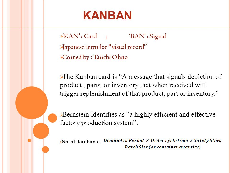  'KAN' : Card;'BAN' : Signal  Japanese term for visual record  Coined by : Taiichi Ohno  The Kanban card is A message that signals depletion of product, parts or inventory that when received will trigger replenishment of that product, part or inventory.  Bernstein identifies as a highly efficient and effective factory production system .