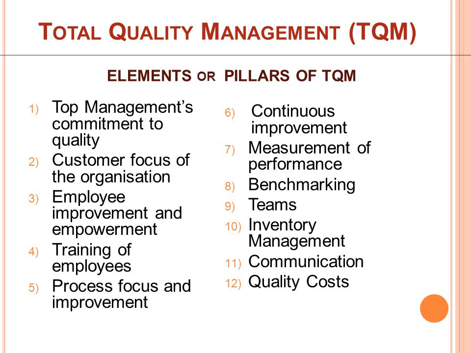 ELEMENTS OR PILLARS OF TQM 1) Top Management's commitment to quality 2) Customer focus of the organisation 3) Employee improvement and empowerment 4) Training of employees 5) Process focus and improvement 6) Continuous improvement 7) Measurement of performance 8) Benchmarking 9) Teams 10) Inventory Management 11) Communication 12) Quality Costs T OTAL Q UALITY M ANAGEMENT (TQM)