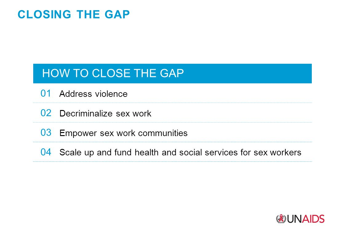 CLOSING THE GAP HOW TO CLOSE THE GAP 01 Address violence 02 Decriminalize sex work 03 Empower sex work communities 04 Scale up and fund health and social services for sex workers