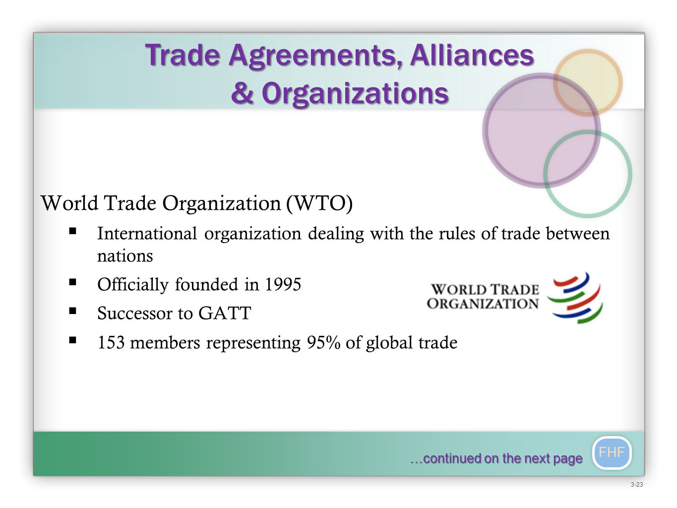 FHF World Trade Organization (WTO)  International organization dealing with the rules of trade between nations  Officially founded in 1995  Successor to GATT  153 members representing 95% of global trade Trade Agreements, Alliances & Organizations 3-23 …continued on the next page