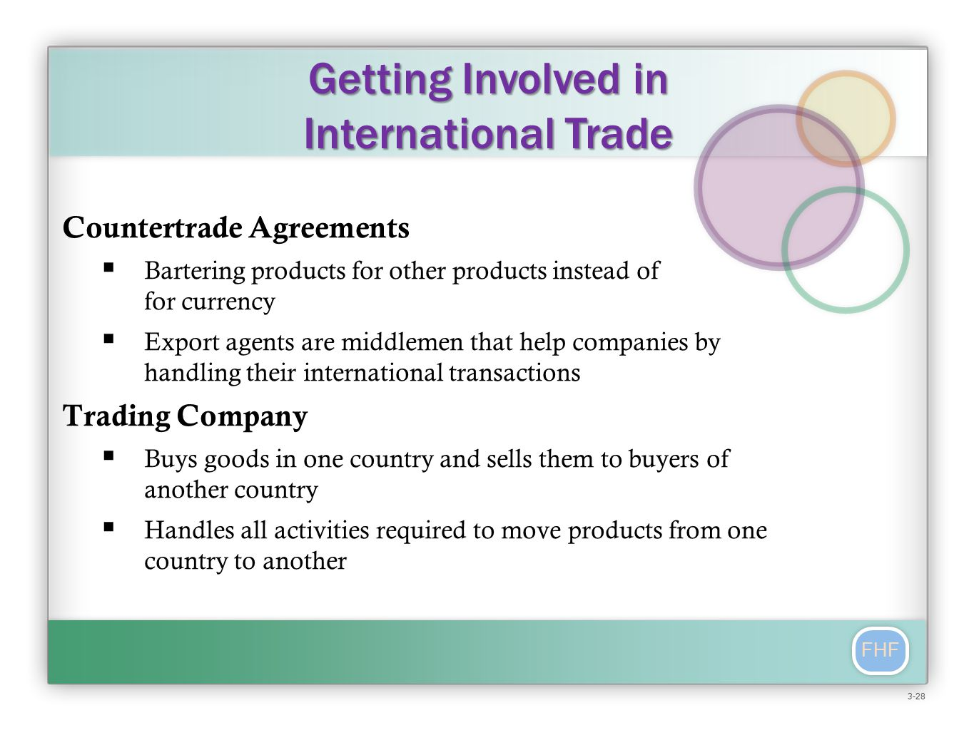 FHF Countertrade Agreements  Bartering products for other products instead of for currency  Export agents are middlemen that help companies by handling their international transactions Trading Company  Buys goods in one country and sells them to buyers of another country  Handles all activities required to move products from one country to another Getting Involved in International Trade 3-28