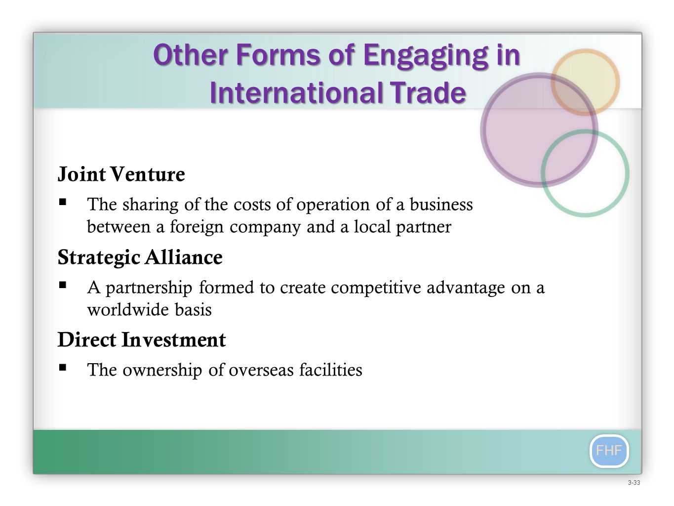 FHF Other Forms of Engaging in International Trade Joint Venture  The sharing of the costs of operation of a business between a foreign company and a local partner Strategic Alliance  A partnership formed to create competitive advantage on a worldwide basis Direct Investment  The ownership of overseas facilities 3-33