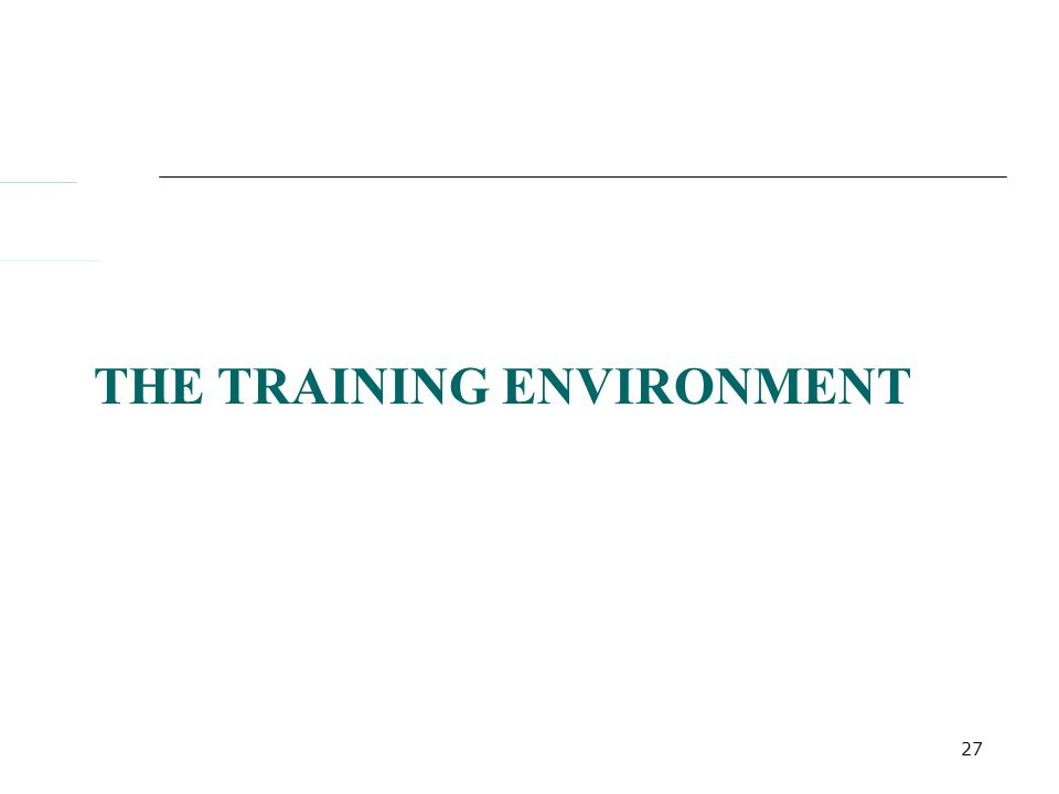 27 THE TRAINING ENVIRONMENT
