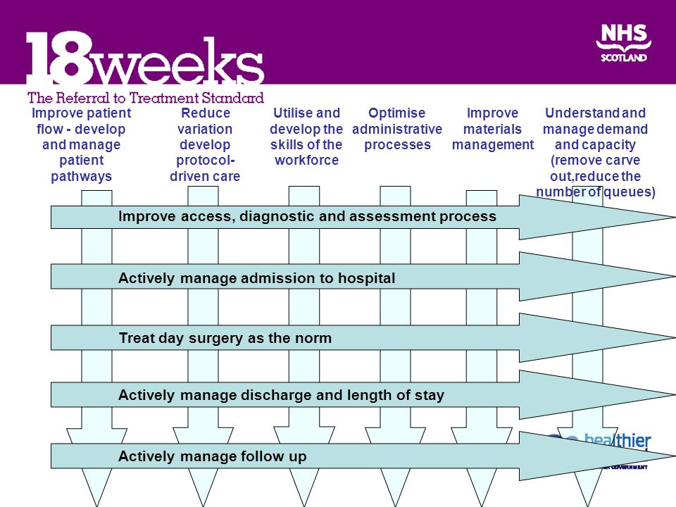 Improve access, diagnostic and assessment process Actively manage admission to hospital Treat day surgery as the norm Actively manage discharge and length of stay Actively manage follow up Improve patient flow - develop and manage patient pathways Reduce variation develop protocol- driven care Utilise and develop the skills of the workforce Optimise administrative processes Improve materials management Understand and manage demand and capacity (remove carve out,reduce the number of queues)