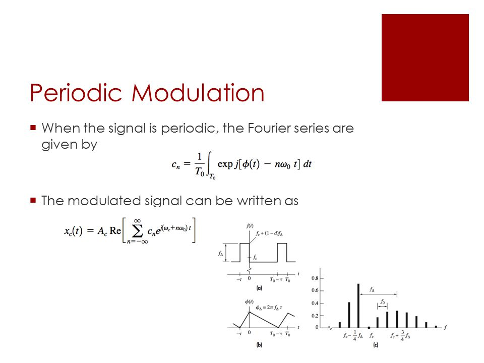 Periodic Modulation  When the signal is periodic, the Fourier series are given by  The modulated signal can be written as