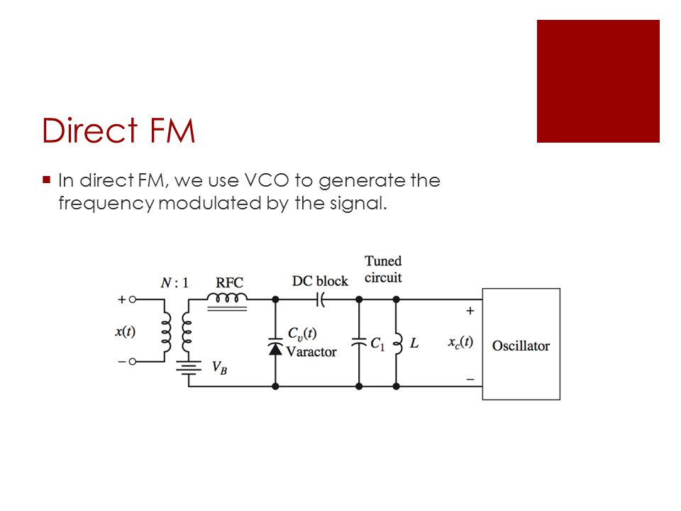 Direct FM  In direct FM, we use VCO to generate the frequency modulated by the signal.
