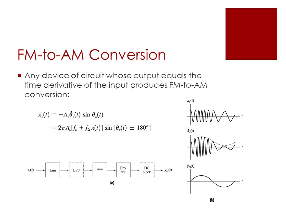FM-to-AM Conversion  Any device of circuit whose output equals the time derivative of the input produces FM-to-AM conversion: