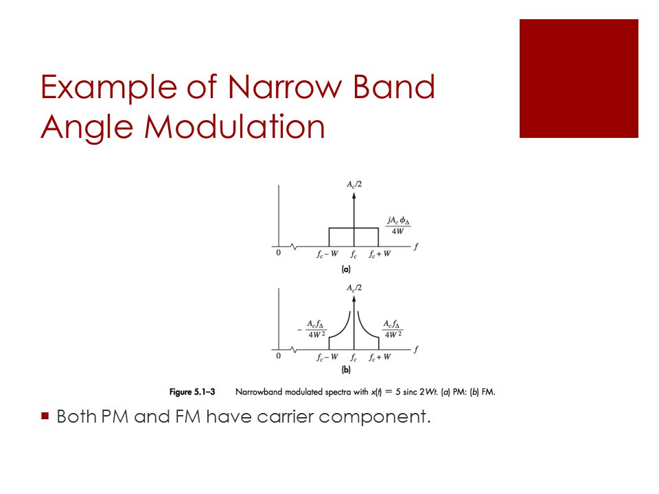 Example of Narrow Band Angle Modulation  Both PM and FM have carrier component.