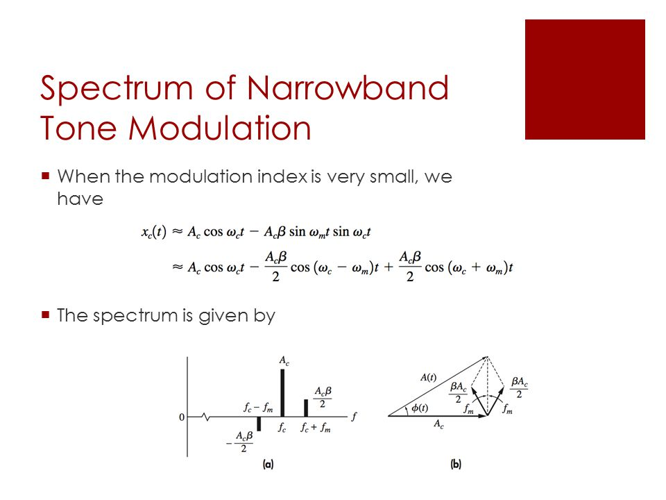 Spectrum of Narrowband Tone Modulation  When the modulation index is very small, we have  The spectrum is given by