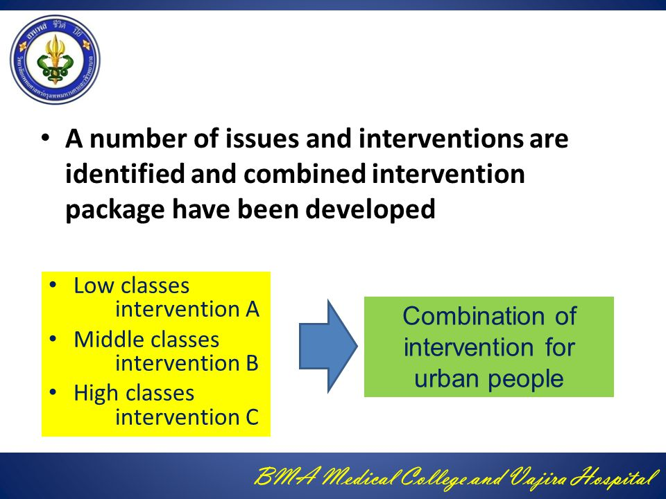 BMA Medical College and Vajira Hospital A number of issues and interventions are identified and combined intervention package have been developed Low classes intervention A Middle classes intervention B High classes intervention C Combination of intervention for urban people