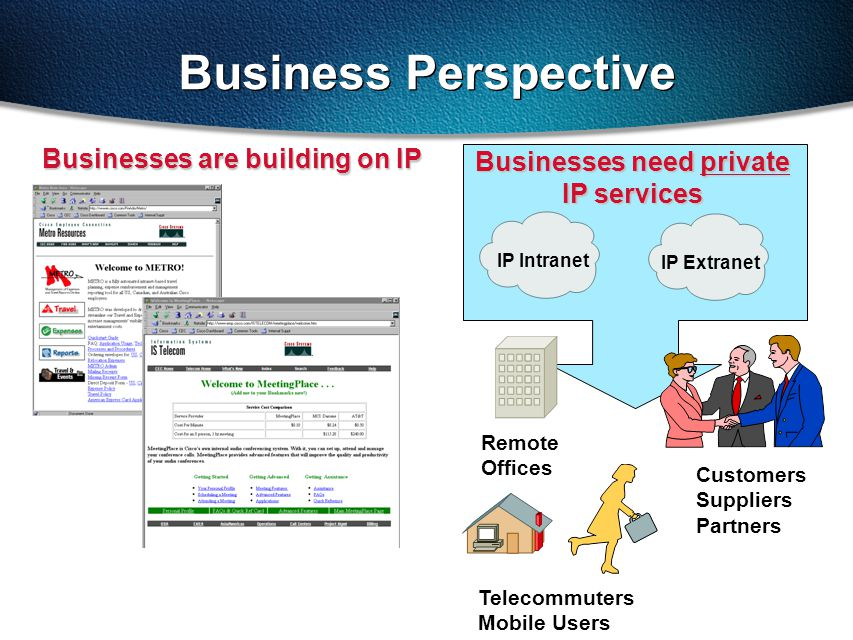 Business Perspective Businesses are building on IP Businesses need private IP services Customers Suppliers Partners Telecommuters Mobile Users Remote Offices IP Intranet IP Extranet
