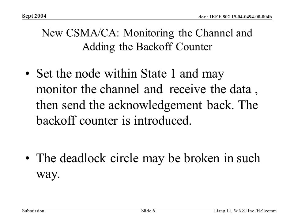 doc.: IEEE b Submission Sept 2004 Liang Li, WXZJ Inc./Helicomm Slide 6 New CSMA/CA: Monitoring the Channel and Adding the Backoff Counter Set the node within State 1 and may monitor the channel and receive the data, then send the acknowledgement back.