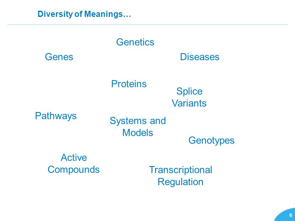 6 Diversity of Meanings… GenesDiseases Proteins Pathways Splice Variants Genotypes Active Compounds Systems and Models Transcriptional Regulation Genetics