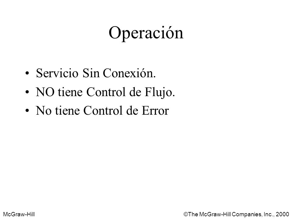 McGraw-Hill©The McGraw-Hill Companies, Inc., 2000 Operación Servicio Sin Conexión.