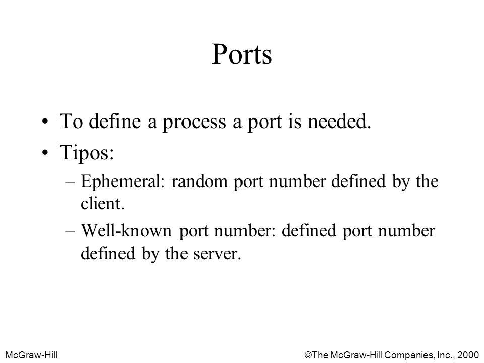 McGraw-Hill©The McGraw-Hill Companies, Inc., 2000 Ports To define a process a port is needed.