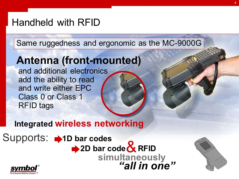 6 Handheld with RFID Supports: Same ruggedness and ergonomic as the MC-9000G Antenna (front-mounted) and additional electronics add the ability to read and write either EPC Class 0 or Class 1 RFID tags Integrated wireless networking RFID 2D bar code all in one 1D bar codes & simultaneously