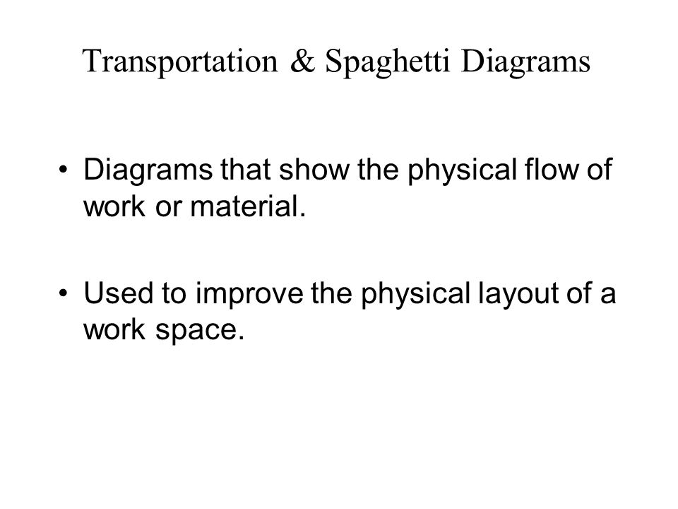 Transportation & Spaghetti Diagrams Diagrams that show the physical flow of work or material.