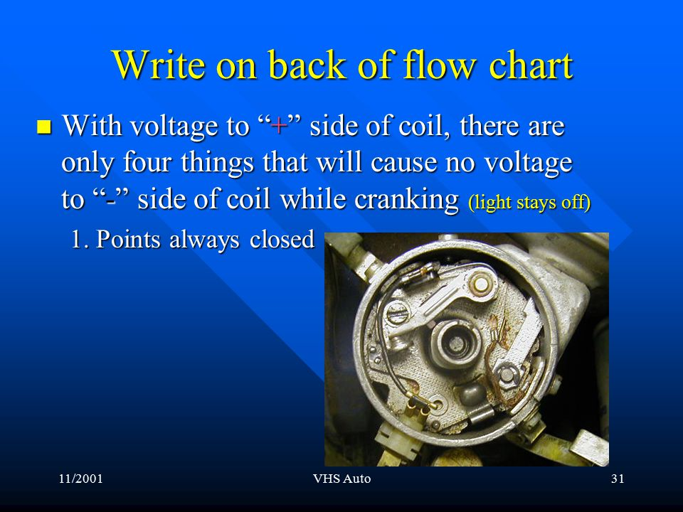11/2001VHS Auto30 Primary ignition circuit + - RUN + - So while cranking the engine The light stays off How much voltage should be left on the - side of Coil with the points closed and current flowing.