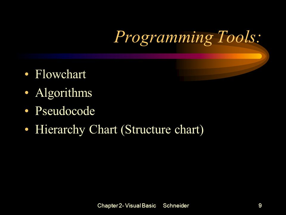 Chapter 2- Visual Basic Schneider9 Programming Tools: Flowchart Algorithms Pseudocode Hierarchy Chart (Structure chart)