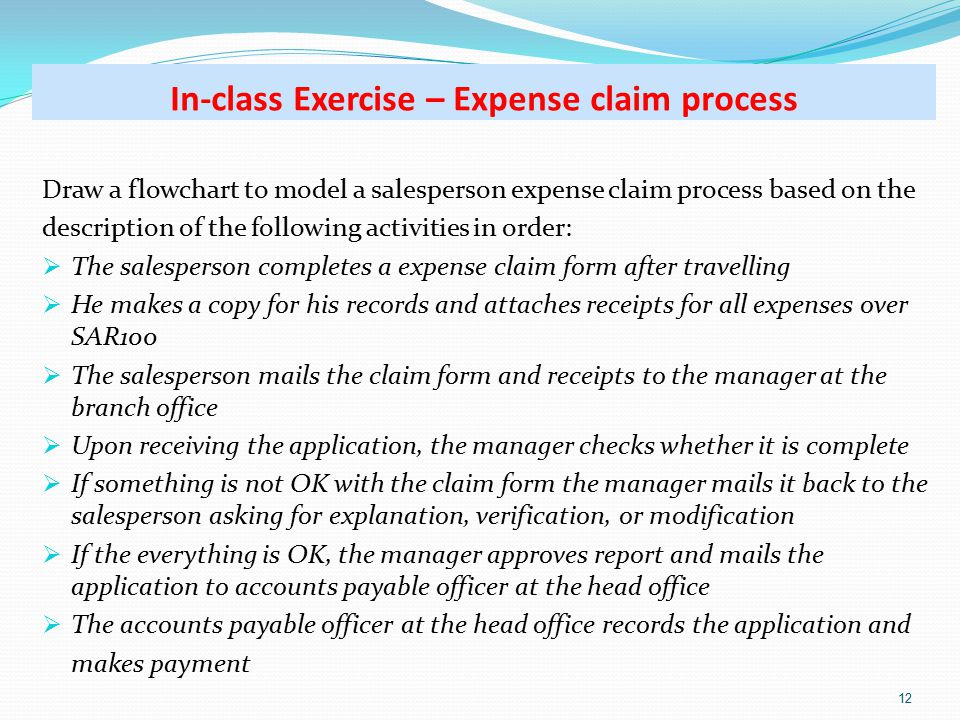 Draw a flowchart to model a salesperson expense claim process based on the description of the following activities in order:  The salesperson completes a expense claim form after travelling  He makes a copy for his records and attaches receipts for all expenses over SAR100  The salesperson mails the claim form and receipts to the manager at the branch office  Upon receiving the application, the manager checks whether it is complete  If something is not OK with the claim form the manager mails it back to the salesperson asking for explanation, verification, or modification  If the everything is OK, the manager approves report and mails the application to accounts payable officer at the head office  The accounts payable officer at the head office records the application and makes payment 12 In-class Exercise – Expense claim process