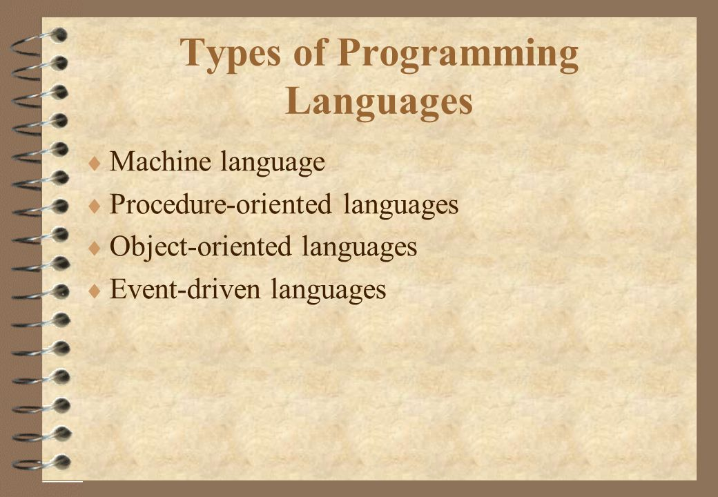 Types of Programming Languages  Machine language  Procedure-oriented languages  Object-oriented languages  Event-driven languages