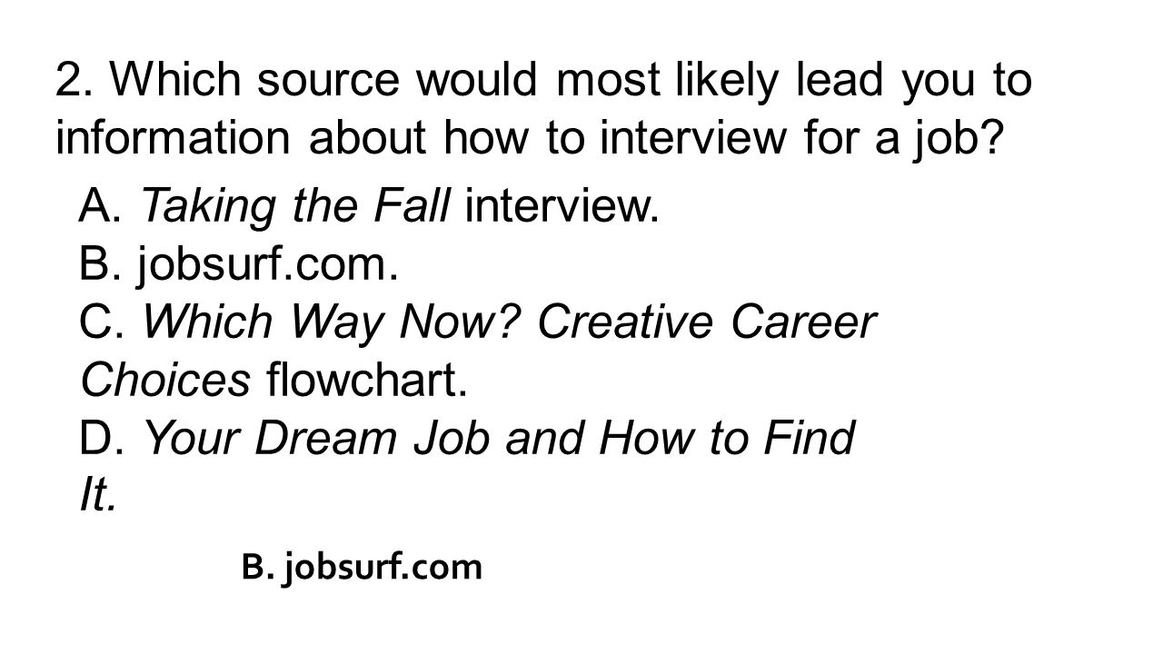 2. Which source would most likely lead you to information about how to interview for a job.