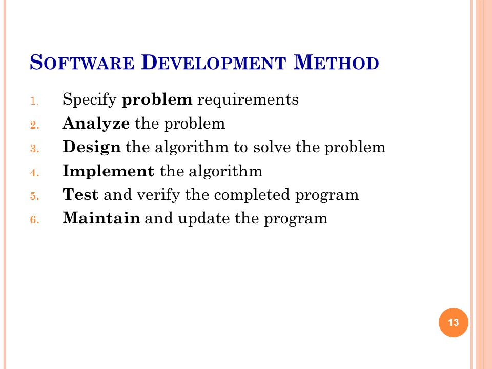 S OFTWARE D EVELOPMENT M ETHOD 1. Specify problem requirements 2.