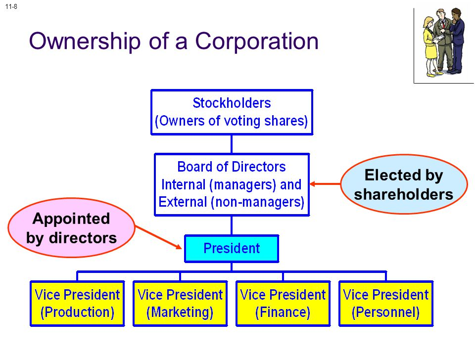 11-8 Ownership of a Corporation Elected by shareholders Appointed by directors